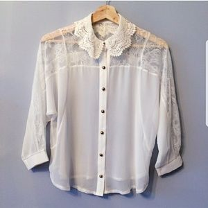 Tops - Sheer Lace Blouse S/M